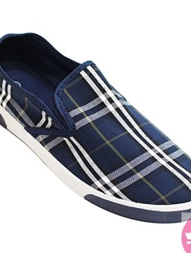 Men's checked casual shoes- navy blue and white