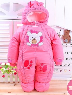 BABIES COTTON PADDED OVERALLS WITH HOOD-PINK
