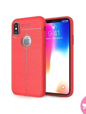 Auto Focus Gel Leather Case For iPhone X - Red