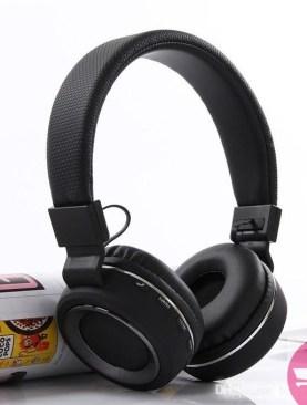 SH-18 Bluetooth Headset Wireless Handfree MIC TF Slot FM Leather Headphone - Black