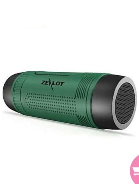 ZEALOT S1 Portable Waterproof Wireless Bluetooth Speakers with Emergency Torchlight, TF Card Music Player - Green,Black