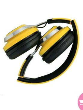 Generic TM021 Wireless Bluetooth Boom Bass Stereo LED Headset - Yellow,Black