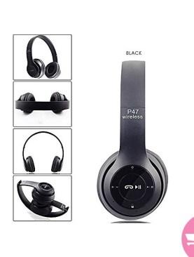 Wireless Bluetoooth ,FM Headphones - Black