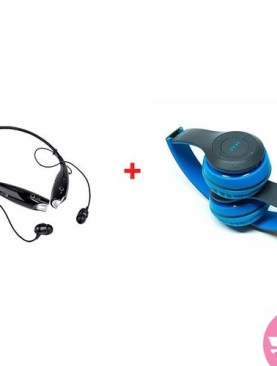 Combo Of wireless Neckband Headsets And Blue P47 Blue Bass Headsets - Blue,Black.