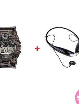 Bluetooth Neckband Headsets With A Free Camouflage Digital Waterproof Watch - Black