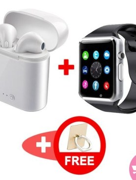 Bundle of i7 Wireless Airpods / Earpods and A1 Touchscreen Phone Bluetooth Smart Watch Plus a Free Stylish Ring Phone Holder - White,Black