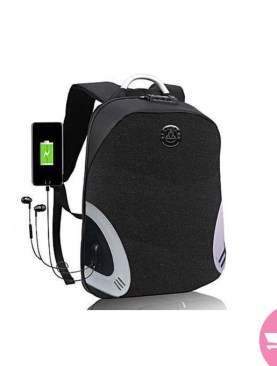 Anti-Theft Laptop Backpack Business Travel Bag - Unisex Design with USB Charging and Aux Port - Black