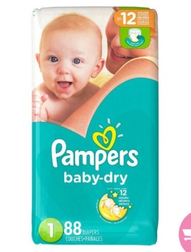 88pcs Pampers Baby Dry Diapers Size1