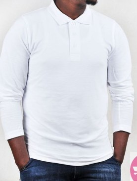 Long sleeved polo neck t-shirt-White.