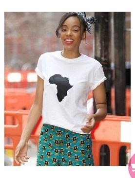 Africa round neck t-shirt with short sleeves-White.
