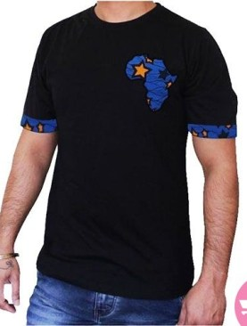 African badge with kitenge blend t-shirt-Blue.