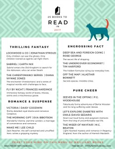 Books to read in 2017 - 50 book reading challenge
