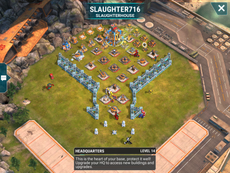 A nearly maxed level 14 base awaits us at the end. The mortars are all level 11 and the beams are level 9. I will aim for the left side, take the space bridge there, and hope for the best.