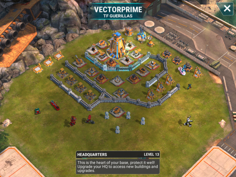 The frightening level 13 base. Don't let the level fool you though. This base is very similar to many level 12 bases that we have fought. The base is also susceptable to AOE attacks along the walls between the beams and mortars. Do you see some foresight into the future? I do.