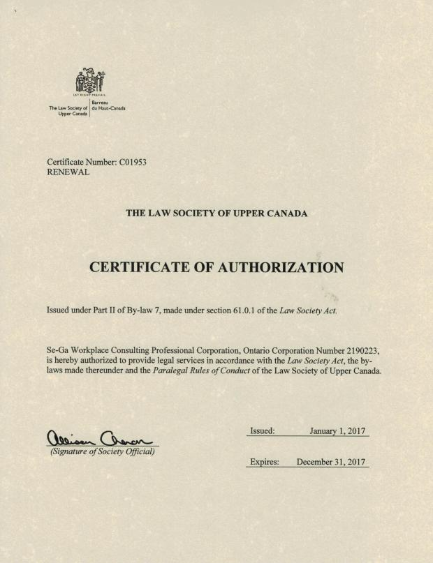 Certificate of Authorization C01953, from the Law Society of Upper Canada