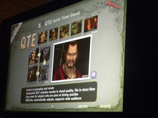 QTEs : Quicktime Events, interactions between gameplay and cinematics
