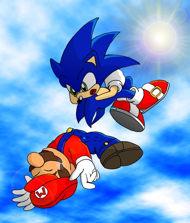 sonic_vs_mario_-_airborne_art