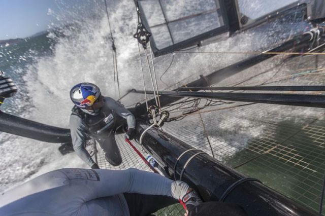 An Bord auf dem AC45 von Oracle Racing. © Guilain Grenier/Oracle Racing