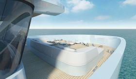 Blick auf das Vorschiff mit dem Sideboardartigen Relingsarsatz und der ringsum geschützten Open Air Lobby. © Wally