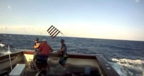 Eine Leiter wirbelt durch die Luvt, die der Marlin abgerissen hat, und trifft einen Angler am Kopf.