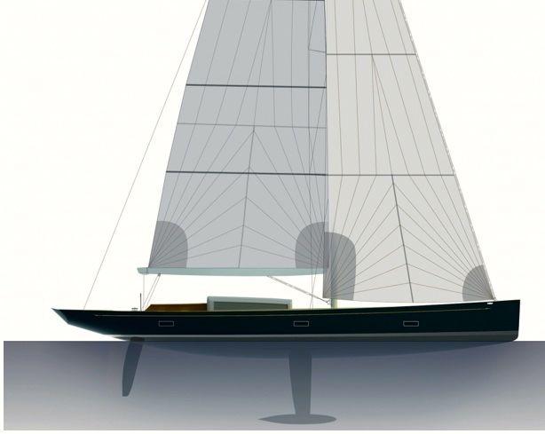 Die Seitenansicht zeigt die modernen Anhängsel mit säbelartigem Ruderblatt und Hubkiel unter einem halbwegsw flachen U-Spant der 51 t Slup.  © K&M Yachtbuilders