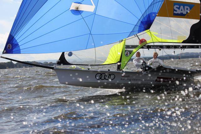 Erik Heil und und Thomas Plößel gewinnen in Steinhude zum zweiten Mal die 49er Bestenermittlung. © Heil/Plößel