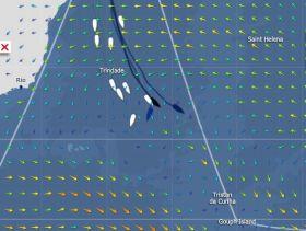 Eine Flautenzone versperrt den Weg zum starken Westwind im Süden. Gabart und Dick wollen auf direktem Weg da durch.