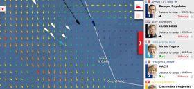 Vendée Globe am 29.11. Jean-Pierre Dick rauscht im Süden mit stärkerem Wind heran. Im Norden parken Thomson und Le Cléac'h.
