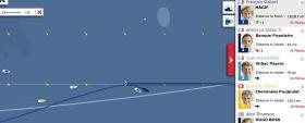 Die Situation bei der Vendée Globe am 11.12. Thomson (l.) ist auf 160 Meilen zurückgefallen, Gabart hat kurz vor dem dritten Eistor die Führung übernommen.