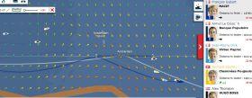Die Situation bei der Vendée Globe am 12.12. Francois Gabart hat 20 Minuten vor Armel Le Cléac'h das Amsterdam Gate passiert. Thomson steuert einen nördlicheren Kurs.