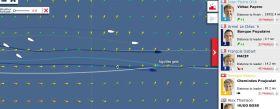 Vendée Globe Karte am 3.12. Die ersten drei haben fast auf einer Linie das erste Eistor an Steuerbord liegen lassen.