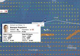 Tonne berührt? Armel Le Cléac'h verschwindet kurz vom Tracker. Ob er mit dem Kiel an der Ankerleine hängen geblieben ist? :-)