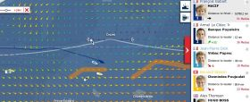 Vendée Globe Tracker am 6.12. Armel Le Cléac'h hat sich als Erster durch das Eistor gekämpft, fällt zurück, kann jetzt aber nach Süden abtauchen.