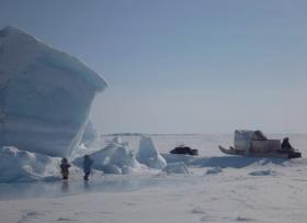 brossier, Arktis, packeis, eingeschlossen, Familie, kleine Kinder