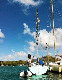 "Das vermisste Schiff ""Grain de Soleila"" in der Karibik."