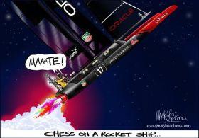 Die Oracle Rakete hat gezündet. © o'Brian/www.monstacartoons.com