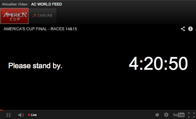 So sollte bei Euch der aktivierte America's Cup Player aussehen. Die digitale Uhr sollte runterzählen.