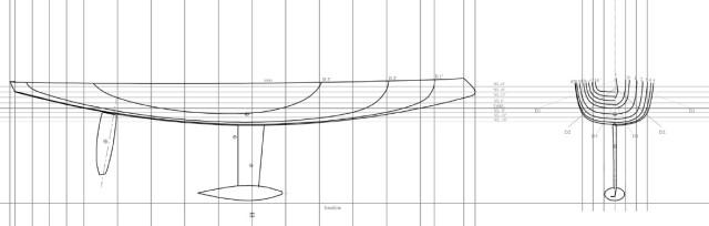 """Kanubug, flacher U-Spant und moderne Anhängsel mit tiefen Kielhebel. Die """"RúM"""" ist ein spezieller Mix aus Alt und Neu © Danel Design"""