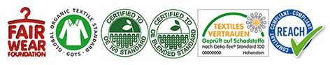 Textile Standards, die die SR Ware erfüllt