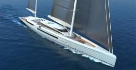 Die 80m-Variante wäre konventionell Ketsch-getakelt und würde etwas mehr Platz bieten © Dixon Yacht Design