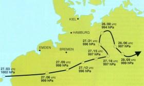 Die Zugbahn des Tiefdruckgebiets vom 27. auf den 28. August 1989.