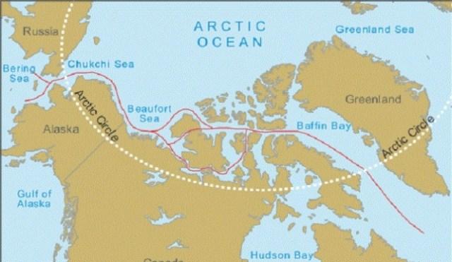 Mögliche Routen innerhalb der Nordwest-Passage © google