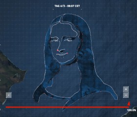 Die Mona Lisa von Leonardo da Vinci nach GPS-Punkten auf der Kieler Bucht.