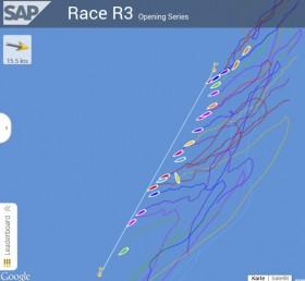 Screenshot des Starts des dritten 470er-Rennens bei der Kieler Woche 2014. Schon die SAP Race Analytics zeigt ziemlich genau, wo die einzelnen Teilnehmer zur Startlinie liegen. Mit einem Mausklick auf die simulierten Boote werden die Namen angezeigt.  ©SAP