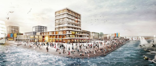 Blick vom Wasser auf den für 2024 animierten Olympiastandort Kiel-Holtenau.  Visualisierung: Monokrom, Hamburg