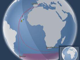 Die Flotte muss etwa entlang der roten Linie um die Welt segeln.