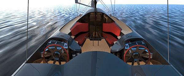 Doppelte Ruderanlage, jeweils mit eigenem Cockpit © SpeedDream/Porsche