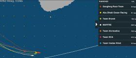 Dongfeng rutscht doch noch vor die Flotte bleibt aber im Windschatten von Sri Lanka stehen. Die Konkurrenz rauscht bis auf acht Meilen heran.