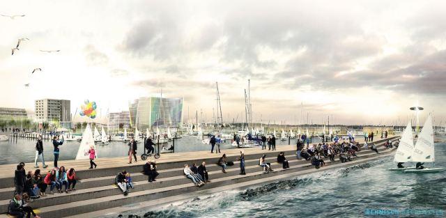 Ein Boulevard soll sich bis ans Wasser ziehen. © Behnisch Architekten