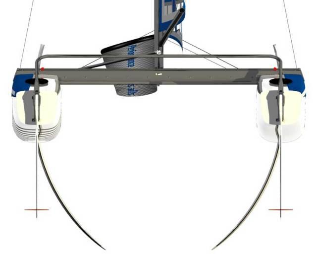 Mit gebogenen Schwertern und stabilisierenden Winglets an den Rudern. © Nacra